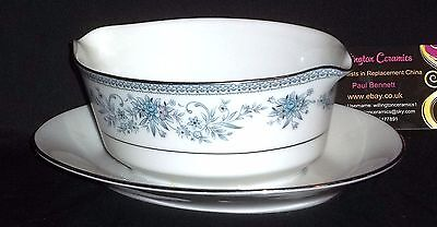 Noritake BLUE HILL Gravy / Sauce Boat with Attached Stand