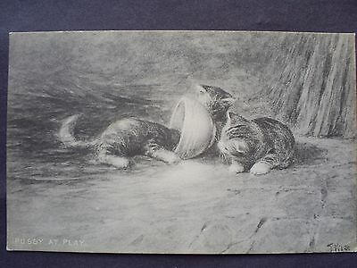 Cats Edwardian Postcard 1909 Postal Stamped.artist Signed.