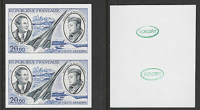France (890) 1970 Concorde 20f IMPERF PAIR -  a Maryland FORGERY unused
