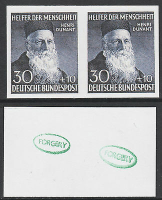 Germany - West (891) 1952 Dunant 30pf IMPERF PAIR -  a Maryland FORGERY unused