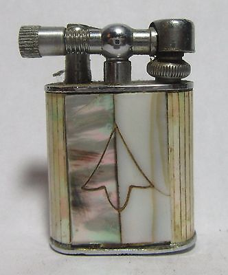 Old 1950's Mini Lighter With White And Black Pearl Inlays, Made In Japan, Sparks