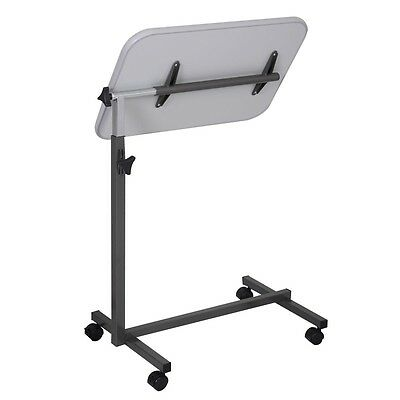 Overbed Adjustable Table Food Tray Top Bed HospitalRolling Laptop Gray Desk