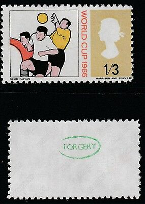 Great Britain (899) 1966 FOOTBALL 1s3d MISSING BLUE - a Maryland FORGERY unused