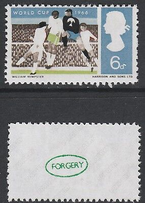 Great Britain (898) 1966 FOOTBALL 6d MISSING RED - a Maryland FORGERY unused