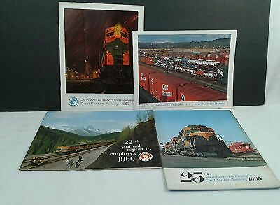 Vintage Lot of 4 Great Northern Railway Annual Report to Empoloyes 1960s