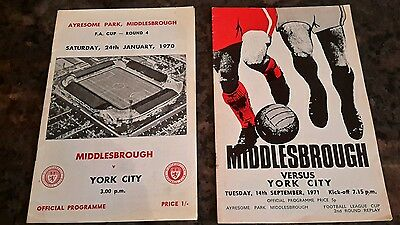 2 - Middlesbrough v York, Cup Programmes From 1970 - 1971