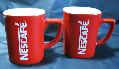 **BN** 2 x NESCAFE Collectable Square Shaped Red Coffee Mugs Cups