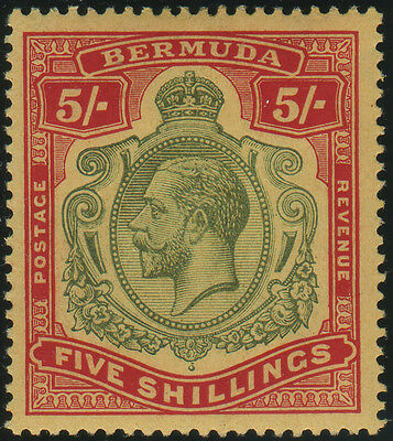 Bermuda, SG 53dw KGV 5/- watermark inverted, fine mint, small tone on reverse, C