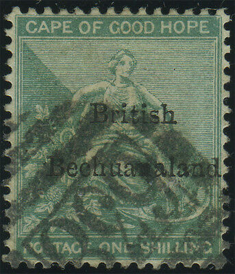 British Bechuanaland, SG 8, 1/- green fine used with '638' numeral of Mafeking,