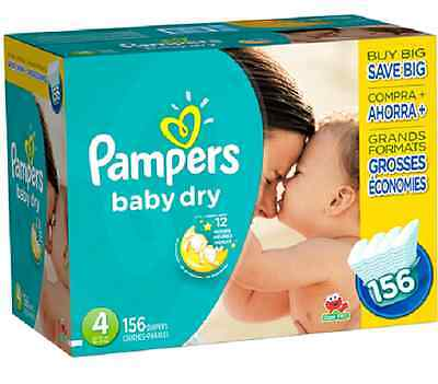 New Pampers Baby Dry Size 4 Diapers Super Economy Pack - 156 Count