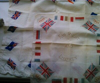 Two WW I Patriotic Handkerchiefs For Right And Liberty