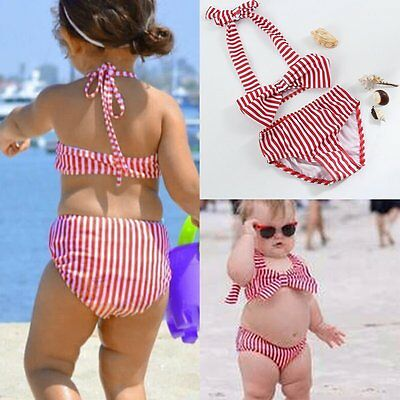 2Pcs Toddler Kids Baby Girls Swimsuit Swimwear Bathing Suit Tankini Bikini Set