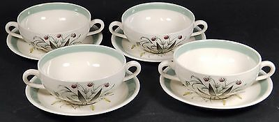 Vintage Alfred Meakin 'Hedgerow' 2 Handled Soup Bowls w/ Saucers x 4