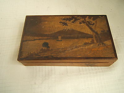 Antique Japanese Inlaid Wood Box Multi Tones And Compartments