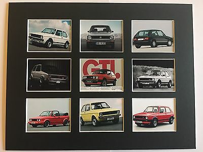 "Vw Golf Retro Poster 14"" By 11"" Picture Mounted Ready To Frame"
