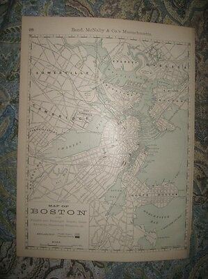 Superb Antique 1888 Boston Massachusetts Map Railroad Steamboat Wharves Depots