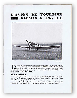 Catalogue dépliant ancien AVION FARMAN F. 230 + feuille de désignation. 1944