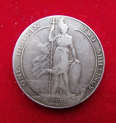 1908 Two Shillings Edward VII Florin Britiish Coin Scarce date nice condition VF