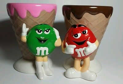 New in Box M&M Ice Cream Shop Set Red & Green Ice Cream Dishes