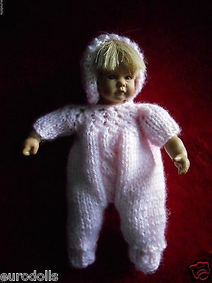 """Doll Clothes pink Hand knitted footed Set for ooak 7 to 9"""" fit  Heidi Ott 8in"""