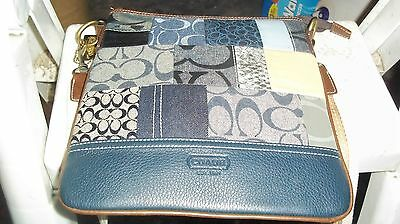 Coach Blue Color's Patchwork Cross Body Purse Shoulder Bag With Adjustable Strap