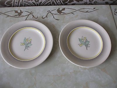 """Gray's Pottery Art Deco Hand Painted Lily of the Valley Pair 8"""" Tea Plates"""