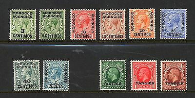 MOROCCO AGENCIES & TANGIER , 11 x stamps mounted mint