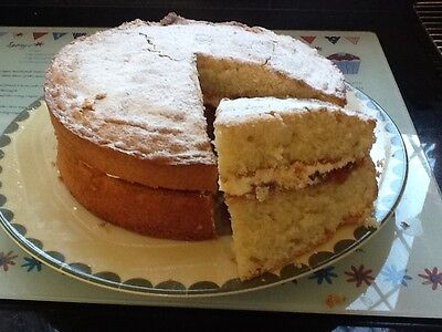 """Homemade Victoria  Sponge   8"""" Size Sandwiched With Buttercream  Delicious"""