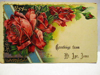1909 Postcard Greetings From Mt Ayr Iowa, Red Roses
