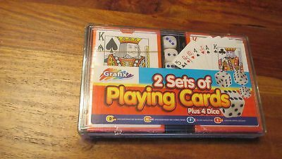 2 Packs of Playing Cards and 4 Dice. Brand New Sealed.