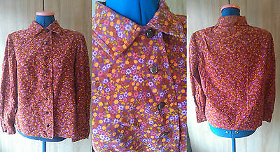 L2) Awesome retro vintage 1960s 1970s MOD cord autumnal shirt blouse top