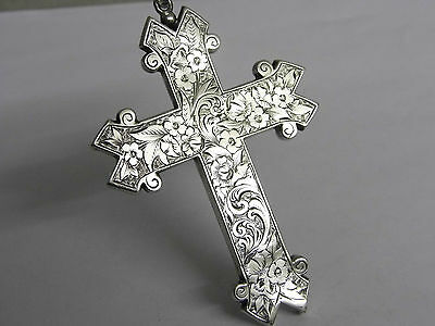 Very Large Antique Victorian 1874 Sterling Silver Religious Church Cross Priest