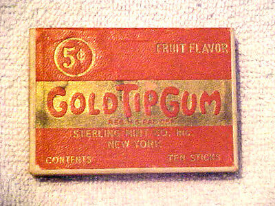 Vintage Advertising Gold Tip Chewing Gum Box Sterling Mint Co *fruit Flavor*