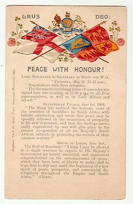 Raphael Tuck 1902 Boer War Embossed Flags ppc. Peace with Honour and texts