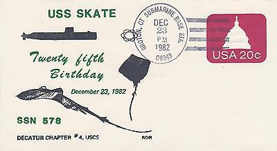 Uss Skate 25Th Birthday 1982 Naval Topical Ship Cover Military