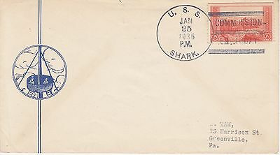 Uss Shark Commission Cancel Jan 25, 1936 Naval Ship Event Cover