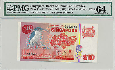 Banknote Board  Of Currency Singapore  10 nd(1979)  PMG   64