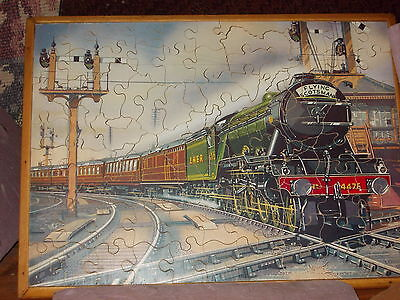 Hornby double engine/?   on double sided jig-saw   exc  womens war work