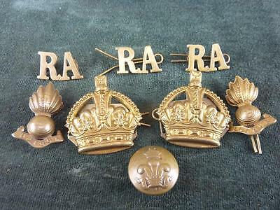 Vintage brass Military mixed Badges and Button