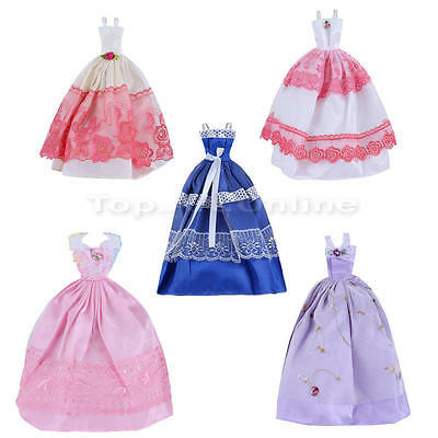 5 pcs Sleeveless Princess Dancing Wedding Gown Party Dress Clothes For Doll