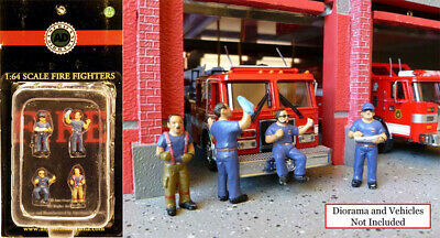 Fire Fighters Set 4 Feuerwehrmann Modell Figuren 1:64 American Diorama AD-77732