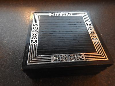Rennie Mackintosh Style Black & Silver Coloured Wooden Box By Carrick Good Used