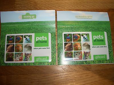 Two Pets at Home gift cards,vouchers credit notes, total £73.00