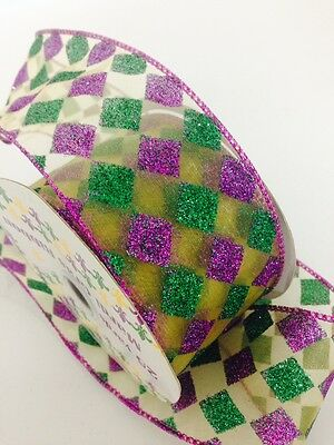 25 yard Gold Purple Green Checkerboad  Wired Ribbon Glitter Happy Birthday Party
