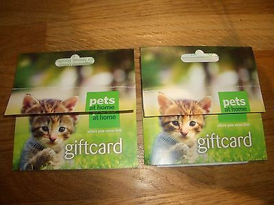 Two Pets at Home gift cards,vouchers credit notes, total £85.00