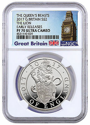 2017 Britain 2 Pound 1 oz. Silver Queen's Beasts Lion NGC PF70 UC ER SKU45197