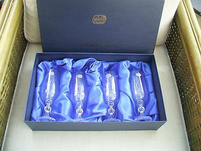Set Of Four Bohemian Crystal Champagne Flutes, Boxed