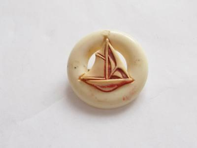 Vintage 1940's Cream Red Celluloid Sail Boat Yacht Life Ring Nautical Brooch