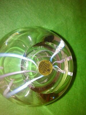 Selkirk Glass Vase Signed And With Lable Hand Made In Scotland 1991