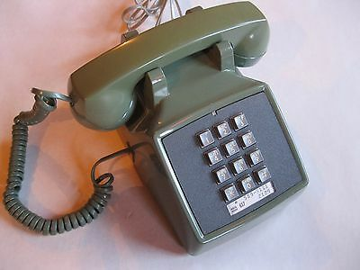 Vintage Telephone Western Electric Green Avocado Push Button